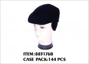 FLANNEL EARFLAP HAT BLACK ONLY 1