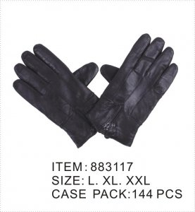 MEN BLACK LEATHER GLOVES W/ZIPPE